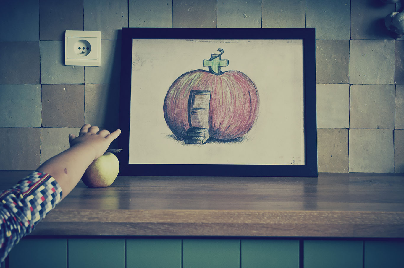 Appelteek, tekening uit de reeks &#039;zo&#039;n woordenboek!&#039;