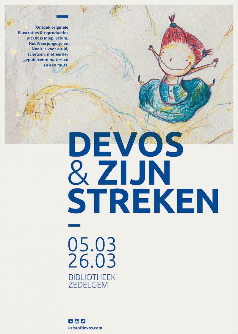 Affiche van de tentoonstelling Devos en zijn Streken