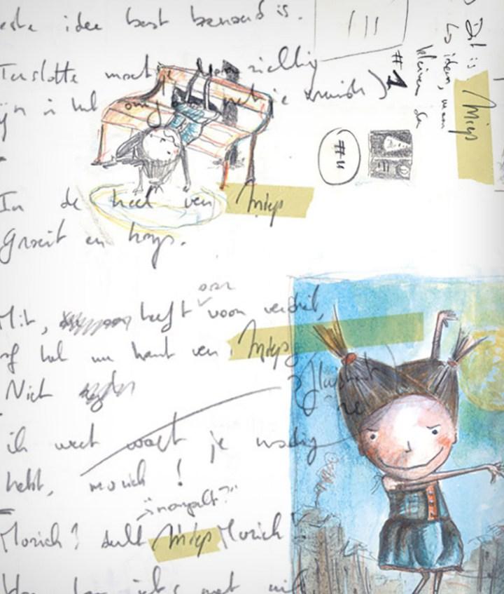 Illustraties uit het schetsboek van het boek Dit is Miep